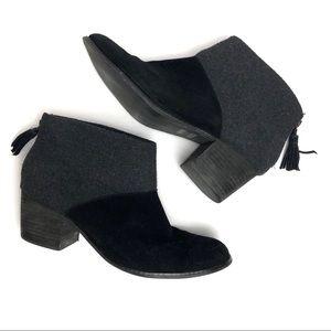 Toms Leila Wool Stacked Heel Back Zip Booties